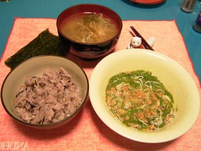 R0030266夜-めかぶジャコ納豆、味噌汁、五穀米ご飯_400.jpg