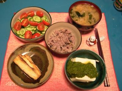 R0030285夜-トビウオ塩焼き、めかぶ奴、キュウリとグミトマトのサラダ、ワカメのお味噌汁、五穀米ご飯_400.jpg