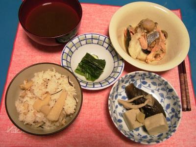 R0030711夜-筍ごはん、シーフードのバルサミコソース、ナスと高野豆腐の炊き合わせ、ほうれん草のおひたし、お吸い物_400.jpg