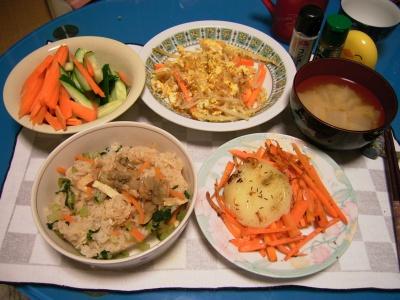 R0031544夜-深川飯、カチョカバロと人参ソテーもやし卵とじ、キュウリと人参サラダ、大根の味噌汁_400.jpg