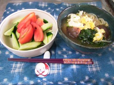 R0031580昼-椎茸卵あおさのうどん、キュウリとトマトサラダ_400.jpg