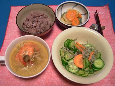 R0031611夜-海老エスニックスープ、ジャコキュウリサラダ、ジャガイモと人参煮、五穀米ご飯_400.jpg