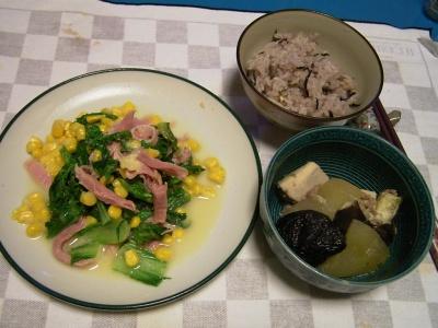 R0031967生ハムとコーンと青梗菜のチーズソテー、冬瓜とナスの煮物、五穀米ご飯_400.jpg