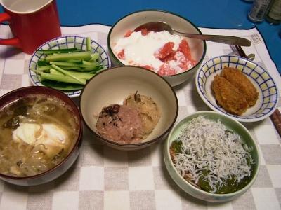 R0032027夜-牡蠣フライ、しらすめかぶ納豆、2色おこわ、落とし卵スープ、グレープフルーツヨーグルト_400.jpg