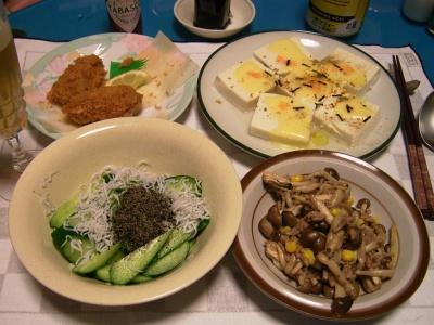 R0032031豆腐ピザ、シメジと挽肉の八角風味炒め、牡蠣フライ、ジャコ胡麻キュウリ_400.jpg
