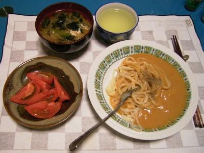 R0032097夜-ウニソースうどんパスタ、トマト、卵わかめ味噌汁_400.jpg