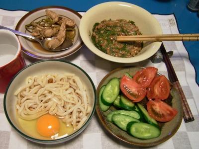 R0032154夜-ぶっかけ卵うどん、めかぶ納豆、鶏のバルサミコ煮込み、キュウリとトマトサラダ_400.jpg