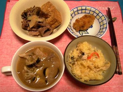 R0033231夜-牛肉と厚揚げの炊き合わせ、牡蠣フライ、なすときのこのスープ、秋刀魚ご飯_400.jpg