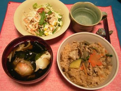 R0033255夜-モミジご飯、落とし卵のお吸い物、ツナサラダ_400.jpg