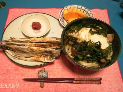 R0033294夜-アゴ干物、手づくり梅干、アオサと卵うどん、柿_400.jpg