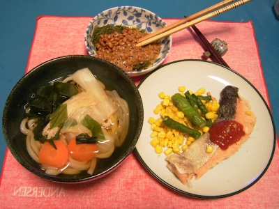 R0033333夜-野菜うどん、鮭ソテー、めかぶ納豆_400.jpg