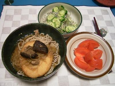 R0033428夜-丸天蕎麦、とまと、きゅうりのジャコ和え_400.jpg