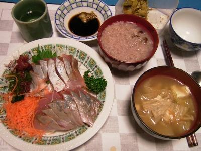 R0033445夜-お刺身、えのきのお吸い物、小豆粥、セロリ佃煮_400.jpg