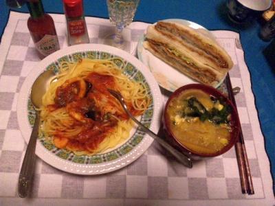 SBSH0104夜-白身魚フライ、シーフードスパゲティ、具沢山味噌汁_400.jpg
