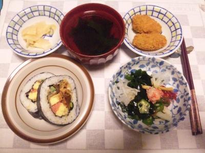 SBSH0125夜-穴子巻き寿司、海草サラダ、牡蠣フライ、お吸い物_400.jpg