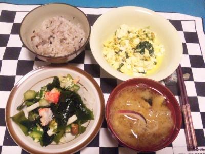 SBSH0130夜-卵とじ豆腐、海草サラダ、イカと大根の味噌汁_400.jpg