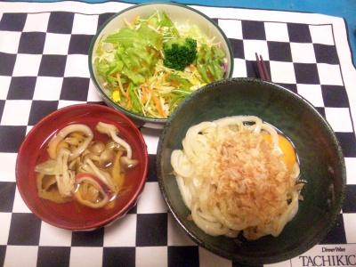 SBSH0136夜-卵かけうどん、イカとシメジのお吸い物、野菜サラダ_400.jpg