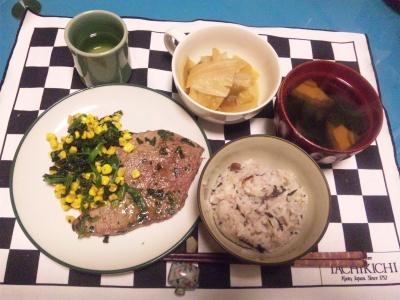 SBSH0115夜-ステーキ、白菜煮、しいたけのお吸い物、雑穀米ご飯_400.jpg