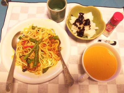 SBSH0219夜-茄子ミートスパゲティ、スープ、大根サラダ_400.jpg