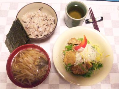 SBSH0218夜-チキンサラダ、モヤシ味噌汁、雑穀米ご飯、海苔_400.jpg