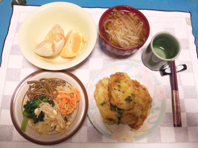 SBSH0212夜-ビビンバビーフン、鯵の香味揚げ、モヤシスープ、八朔_400.jpg