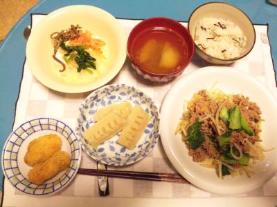 SBSH0212夜-ひき肉野菜炒め、筍煮物、ナムル奴、筍ごはん、牡蠣フライ_400.jpg