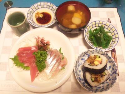 SBSH0219夜-刺身、穴子海苔巻き寿司、茎わかめ、麩のお吸い物_400.jpg