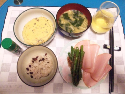 SBSH0214_0626夜-お赤飯、ハムアスパラ、がんも、味噌汁_400.jpg