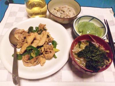 SBSH0219_0717夜-豚の野菜炒め、アオサとモヤシの味噌汁、こんにゃくの刺身、16穀米ご飯_400.jpg
