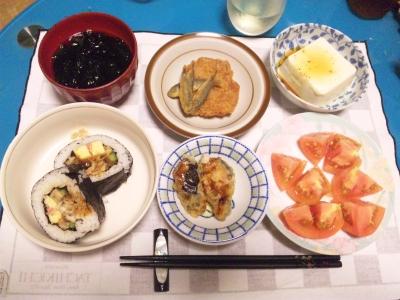 SBSH0212_0723夜穴子巻き寿司、小茄子はさみ揚げ、一口カツ、冷奴、あおさのおすいもの、とまと.JPG