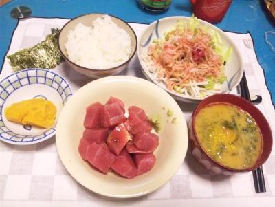 SBSH0224_1001夜-マグロぶつ、カボチャ煮、桜海老サラダ、アオサ味噌汁、海苔_400.jpg