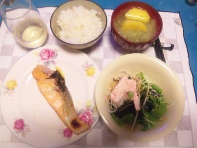 SBSH0214_1002夜-鮭焼き、山芋サラダ、ジャガイモとキャベツのスープ.JPG
