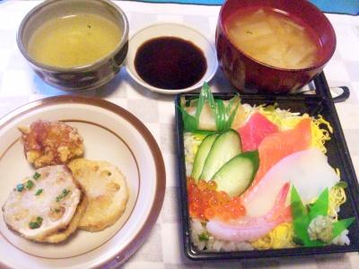 SBSH0210_1028昼-寿司、レンコンはさみ揚げ、大根の味噌汁_400.jpg