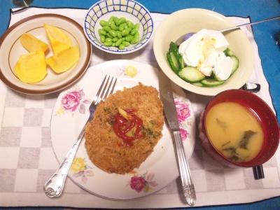 SBSH0204_1030夜-ヒレかつ、ヨーグルトサラダ、枝豆、味噌汁、柿_400.jpg