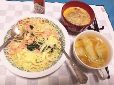 SBSH0204_1129夜-桜海老スパゲティ、白菜スープ、卵納豆_400.jpg