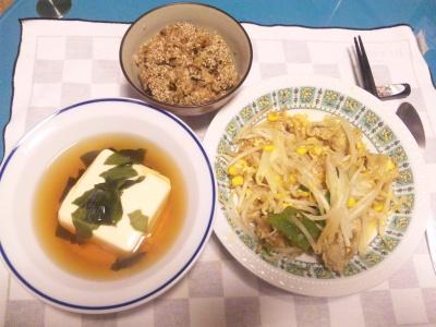SBSH0202_1204夜胡麻昆布ご飯、湯豆腐、もやしとコーンの卵とじ_400.jpg