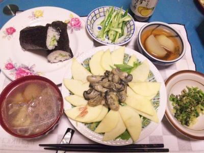 SBSH0206_0202夜-水菜とりんごサラダ、牡蠣ソテー、かっぱ巻き、スープ、セロリの葉炒め、大根煮_400.jpg