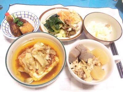 SBSH0204_0206夜-湯豆腐、大根とこんにゃく炊き合わせ、ナムル、コロッケ_400.jpg