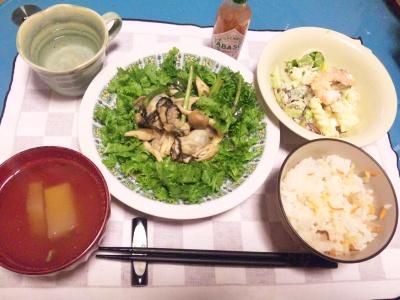 SBSH0205_0215夜-牡蠣炒めわさび菜添え、大根スープ、海老サラダ、寿司飯_400.jpg