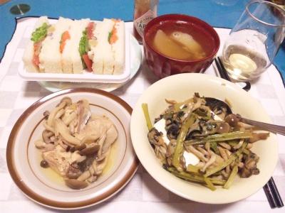 SBSH0206_0216夜-牡蠣炒めのせ豆腐、シメジと鰤の炊き合わせ、ミックスサンド、大根スープ_400.jpg