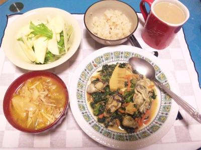 SBSH0206_0223夜-牡蠣の春野菜ソテー、りんごと水菜サラダ、えのきスープ_400.jpg