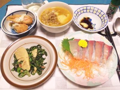 SBSH0203_0225夜-刺身、春野菜の胡麻和え、海老かつ、肉じゃがスープ_400.jpg