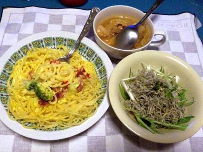 SBSH0215_0311夜-クリーミーパスタ、じゃこサラダ、野菜スープ_400.jpg