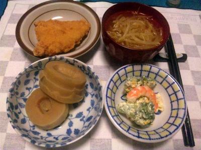 SBSH0204_0510夜-チキンカツ、筍煮物、海老とブロッコリーサラダ、モヤシスープ_400.jpg