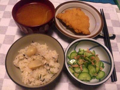 SBSH0206_0511夜-筍ご飯、サクラえびおひたし、チキンカツ、スープ_400.jpg