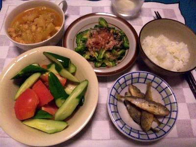 SBSH0214_0724夜-豆鯵、キュウリとトマト、ゴーヤおかかのせ、チキンスープ_400.jpg
