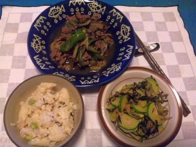 SBSH0204_0729夜-牛肉と夏野菜炒め、ズッキーニのソテー、かやくご飯_400.jpg
