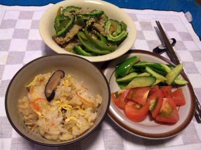 SBSH0216_0801夜-散らし寿司、ゴーヤ、トマトサラダ_400.jpg