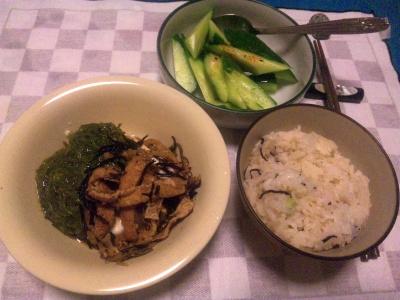 SBSH0209_0805夜-メカブ奴に揚げの甘辛煮、かやくご飯、キュウリ甘酢和え_400.jpg