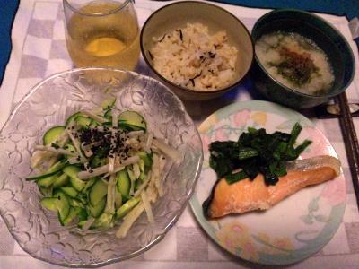 SBSH0215_0807夜-牛蒡サラダ、鮭蒸し焼き、おろしメカブ、かやくご飯_400.jpg
